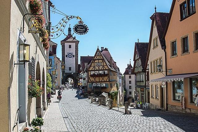 Una strada di Rothenburg ob der Tauber