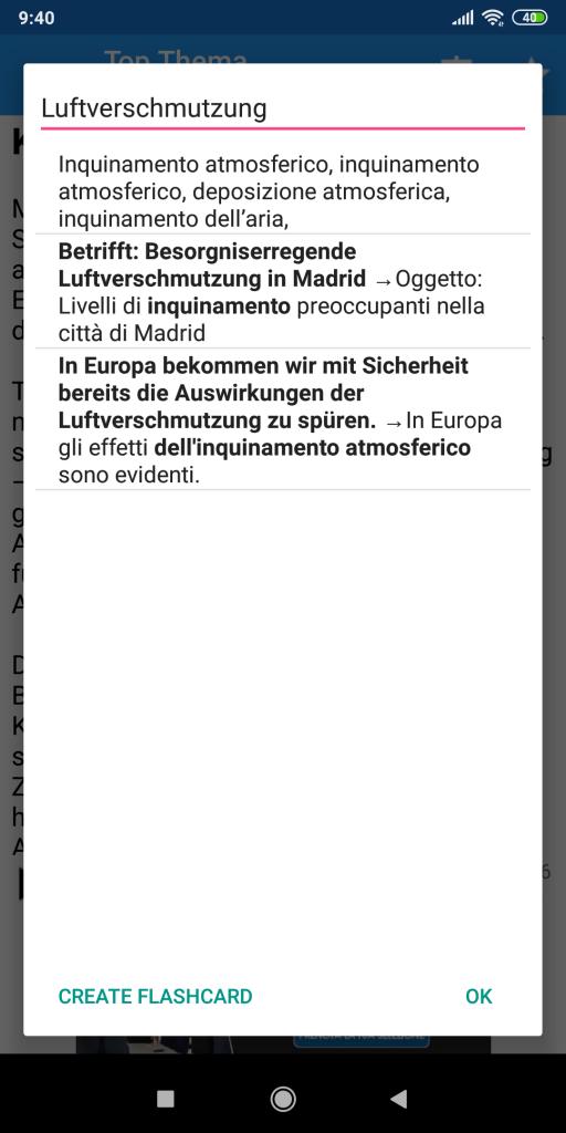 Il traduttore dal tedesco della app German Listening